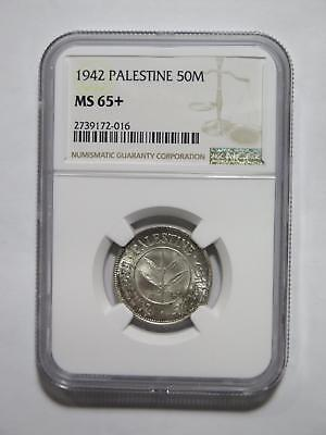 Palestine 1942 50 Mils Ngc Ms65+ Gem Graded Toned Old World Coin Collection Lot