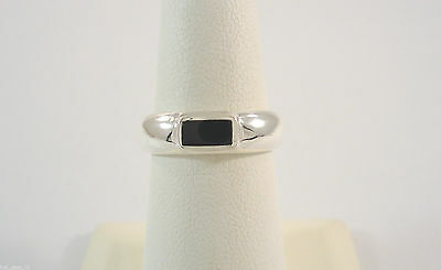 VTG NOS STERLING SILVER BLACK ONYX INLAID BAR MODERN 4.76mm BAND RING SIZE 7 NEW