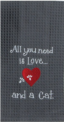 Kay Dee Designs Cat Love Waffle Kitchen Towel One Size