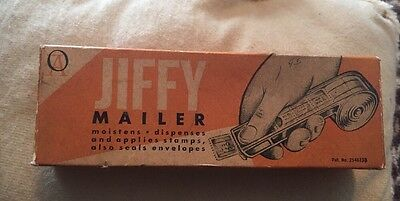Vtg Jiffy Mailer Stamp Dispenser Moistens Dispenses Seals Envelope Office Supply