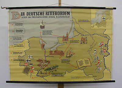 Wandkarte Deutscher Ritterorden 119x82~1959 teutonic military catholic order map