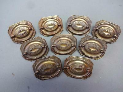 Antique Vintage Victorian Brass Drawer Pull Back Plates Lot Of 8 Hardware
