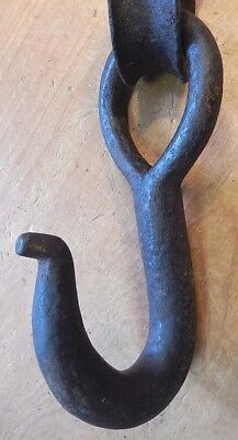 Antique 19th Century Hand Forged Heavy Duty Wrought Iron Hook