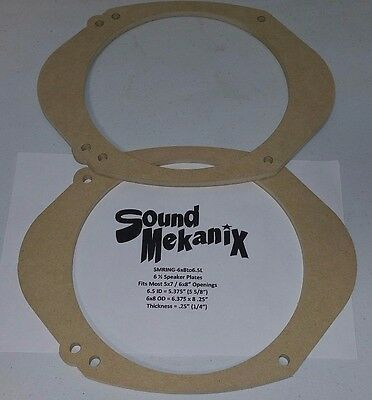 "MDF Speaker / Spacer Rings, 5x7"" / 6x8"" to 6.5"" LARGE 1/4"" Adaptor One Pair"