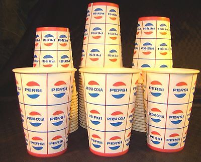 60 Vintage Pepsi Cola Sweetheart V-7 Vending Cups 7 oz Logo Retro Original