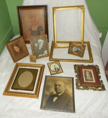 Mixed Lot 12 Picture Frames-Wood-Gilded-Resin-Brass - Antique To Modern+Photos