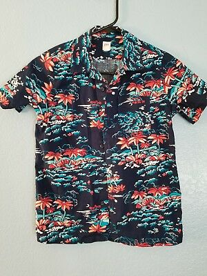 gap kids boys 8 Hawaiian shirt button front size medium navy blue