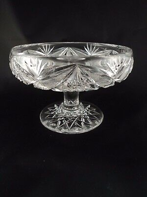 Antique American Brilliant ABP Cut Glass Low Comport Footed Bowl Dish Candy