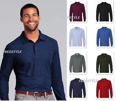 Gildan DryBlend Double Pique Long Sleeve Mens Sport Polo T-Shirt 72900-G729 SALE