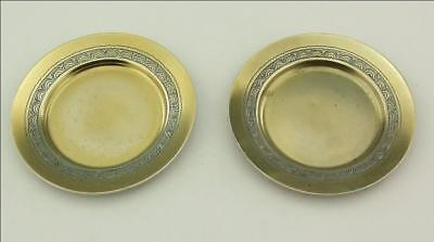A Pair Of Antique Silver Gilt ( Vermeil)  Pin Dishes Tiffany 1873 - 1891