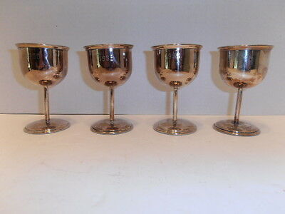 Set of Four Antique Silver Plated Goblets Marked 1955