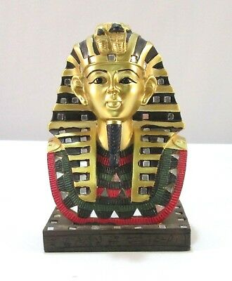 "Ancient Egyptian Pharaoh King Tutankhamun Bust Mask 6"" Sculpture Statue"