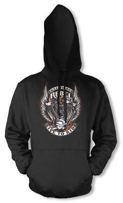 Bnwt Rebel And Proud Live To Ride Engine  Hoodie Kids 3-12 Years