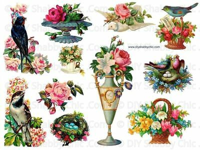 Furniture Wood Shabby Chic Decal Image Transfer Vintage Birds Flower Floral Rose