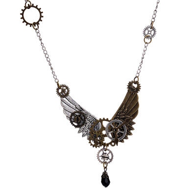 Steampunk Gear Wings Pendant Necklace Chain +Angel Wings Earrings for Women