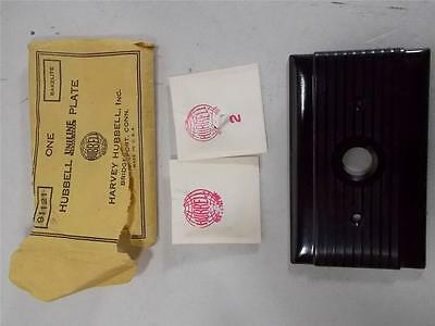 Vintage New Old Stock Bakelite Hubbell Pushbutton Electric Switch Plate Black