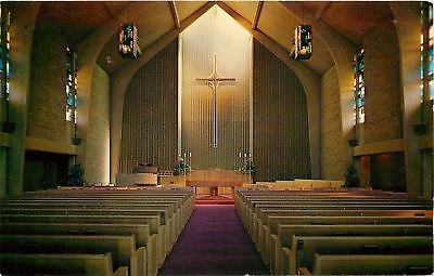 Waterloo Iowa~Inside of Central Christian Church~Stained-Glass Windows~1960s PC