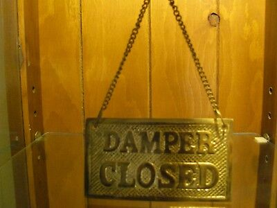 Vintage Solid Brass Ship DAMPER OPEN CLOSED Plaque ~ Nautical True Vintage