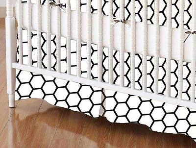"SheetWorld Crib Skirt 28 x 52 - White Honeycomb - 16"" Drop - Made In USA!"