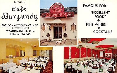 Washington DC~Ray Walter's Cafe Burgundy~Inside Out~Neon Sign~1950s Postcard