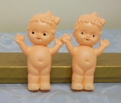 "2 Vintage Girl Celluloid Dolls (4"") W/Hair Bows / Made in Hong Kong"