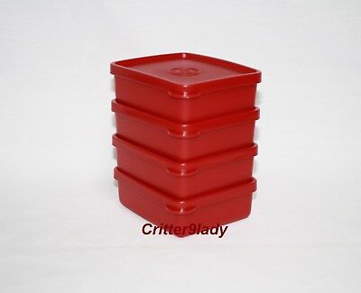 NEW Tupperware Lot of 4 Mini Square Aways in Valentines Red