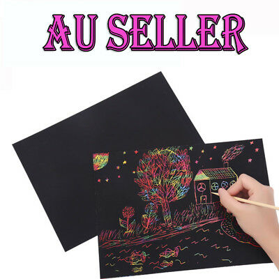 AU 10 X A4 Kids Premium Plain Scratch Art Kit Magic Scratch Paper DIY Craft Kit