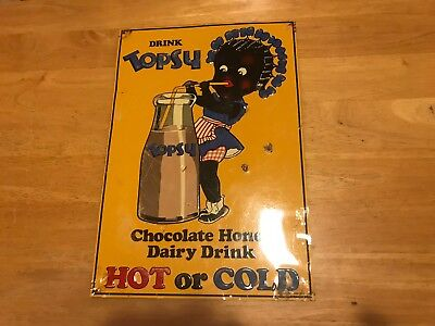 "Drink Topsy – Metal Sign – Black Americana – 9.5"" x 14"" – Some Wear"