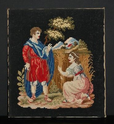 "A Very Quality C19th Berlin Woolwork. Jesus With Mary Magdalene. 14"" x 13"""