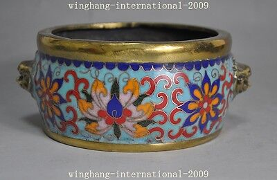 Rare old Chinese bronze cloisonne Pure Handmade Incense burner Censer Decoration
