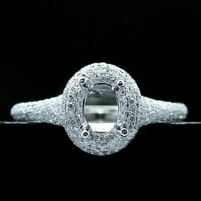6X4MM OVAL SOLID 14K WHITE GOLD 0.7ct DIAMOND WEDDING ENGAGEMENT SEMI MOUNT RING