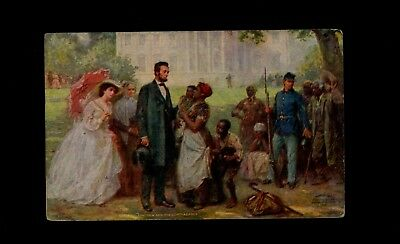 """Postcard 1910s """"Lincoln and the Contrabands"""" multi-colored card"""