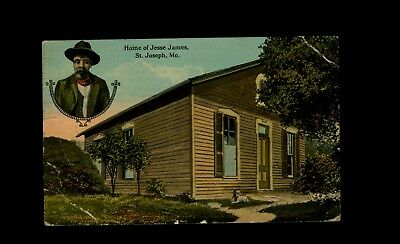 1913 Postcard Home of Jesse James, St. Joseph Missouri, sent to Richmond, VA