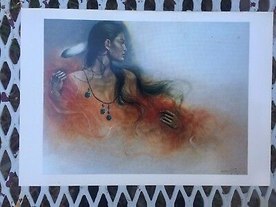 Vintage Native American Indian Woman Turquoise Necklace Artist Signed Art Print