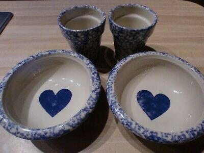 Lot of Roseville Ohio Pottery 2 Bowls with Hearts 2 Blue Spongeware Herb Planter