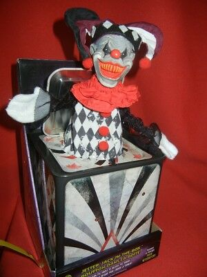 Halloween Jack In The Box Prop.Evil Clown Jester Jack In The Box Halloween Display Prop Haunted Toy Horror