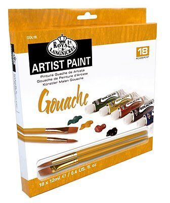 Artists Gouache Paint Art Set Of 18 + 2 Brushes by Royal and Langnickel