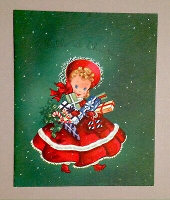 Red Green Girl Child Gifts Vintage Mid-Century Xmas Card Hawthorne Sommerfield