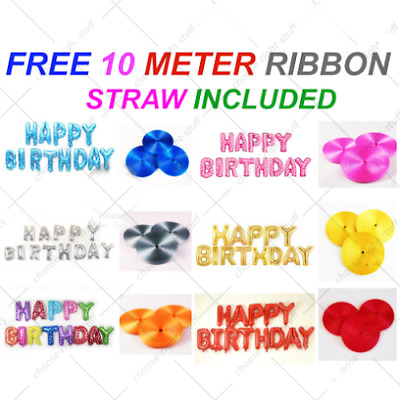 """16"""" Happy Birthday Balloons 13 Letters Self Inflating Foil Banner Bunting Party"""