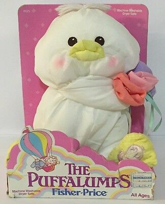 """1988 Fisher-Price Puffalump Easter Chick W/ Flowers White 8"""" Plush 8027 New"""