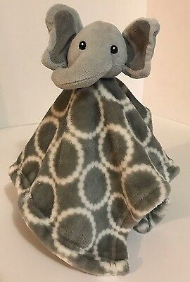 Hudson Baby Gray Elephant Baby Security Blanket Plush Baby Toy Lovey Circles