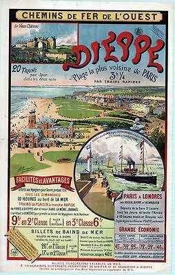 Vintage French Railways Dieppe Normandy Tourism Poster A3 Print