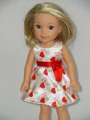 """White Satin Hearts Dress Fits Wellie Wishers 14.5"""" American Girl Clothes"""