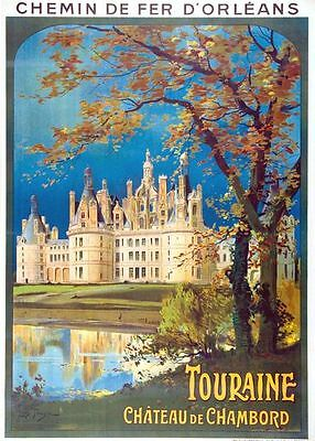 Vintage French Railways Touraine Chateau de Chambord Tourism Poster A3 Print