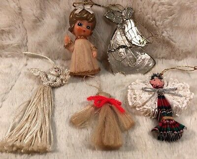 Lot Of 5 Vintage Christmas Ornaments Tree Decorations