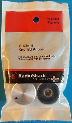 "RadioShack 1"" (25mm) Knurled Silver Knobs 2 Pack 2740242 *FREE SHIPPING*"