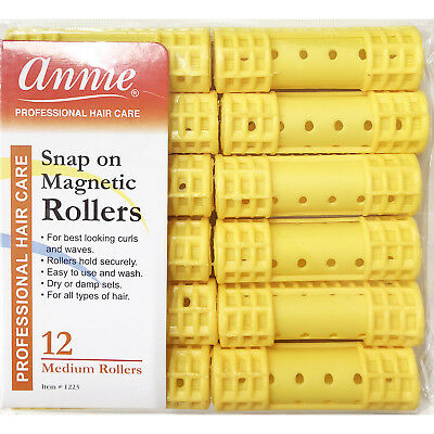 Annie Snap On Magnetic Rollers #1223, 12 Count Yellow Medium 3/4""