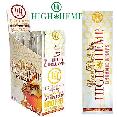 High Hemp Organic Hemp Wraps Honey Pot Swirl Full Box 25 Pouches (50 Wraps(