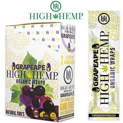 High Hemp Organic Hemp Wraps Grapeape Full Box 25 Pouches (50 Wraps(
