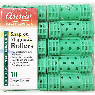 Annie Snap On Magnetic Rollers #1222, 10 Count Green Large 7/8""